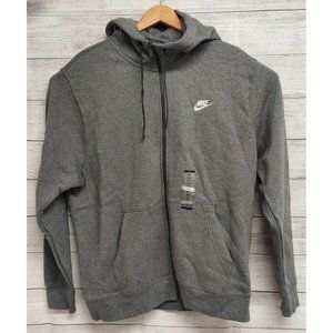 Nike Mens Gray Heather Casual Long Band Sleeve Pockets Full Zip Hoodie Size XLT
